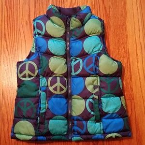 Girls Old Navy Puffer vest green blue 6 small